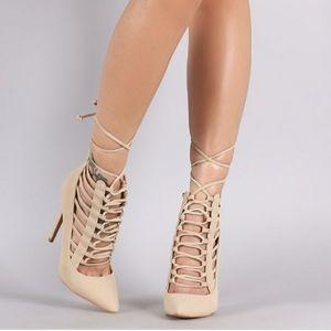 Shoe Republic LA Pointy Toe Caged Lace Up Pump
